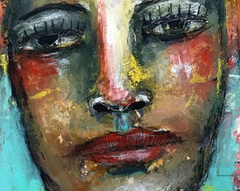 Farhana, Mixed media folk art Portrait by Mystele