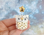 Whimsical Ceramic Owl Figurine with Silver and Gold Luster