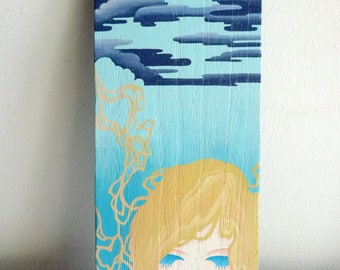 Original Wood Painting Art, Pop Surrealism, Blue Cloud Girl, Small Format, Acrylic, Wooden Signboard, Wall Decor