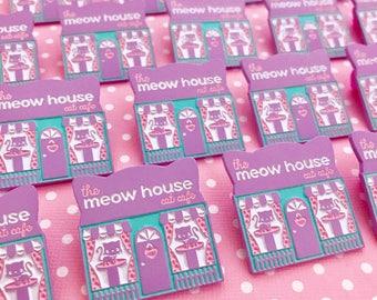 Meow House Pastel Cat Cafe Enamel Pin - Pin Street #6