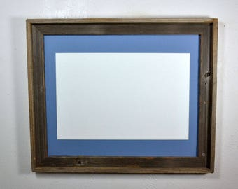 Poster frame reclaimed wood 11x17 light blue mat 16x20 without mat multiple mat colors and mat openings to choose from