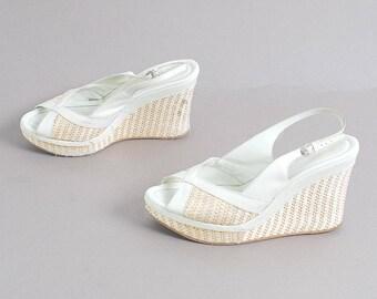 size 8.5 ESPADRILLE style white jute 90s PLATFORM WEDGE slip on mules sandals