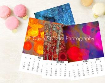 2018 Printable CALENDAR - Abstract Art Wall Calendar , New Year, Monthly Calendar, Calendar Download, Art Calendar, Printable Gift PDF