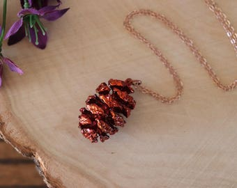 Copper Pinecone Necklace, Copper, Real PineCones, Copper Pine Cones, Redwood, Long Layered Rose Gold Necklace, PC61
