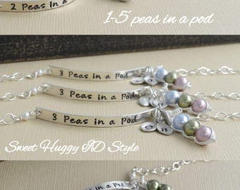 pea pod bracelet, 12345 peas in a pod, mommy bracelet, gifts for mom, sterling, twin baby ID, sister gift, triplet sisters, baby shower