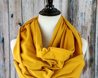 Infinity Scarf -Mustard Scarf -Mustard Infinity Scarf -Coworker Gift -Gold Infinity Scarf - Infinity Scarf Gold - Fall Scarf - Cotton Scarf