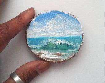 "Mini Oil Painting Wave on Beach on Wood Slice 2.25"" READY TO SHIP"