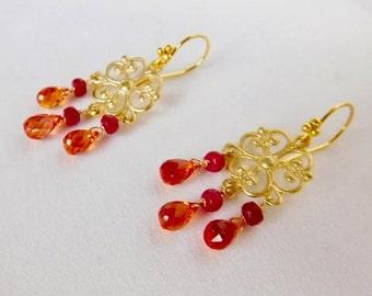 Padparadscha Quartz Earrings - Orange Earrings - Red Earrings - Gold Earrings - Stone Earrings - Statement Earrings