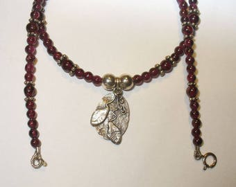 Fine Silver Artisan Pendant on Sterling and Garnet Bead Necklace