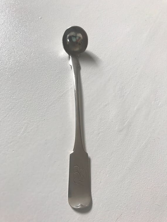 1840 American Coin Silver Mustard Spoon by William R Tice