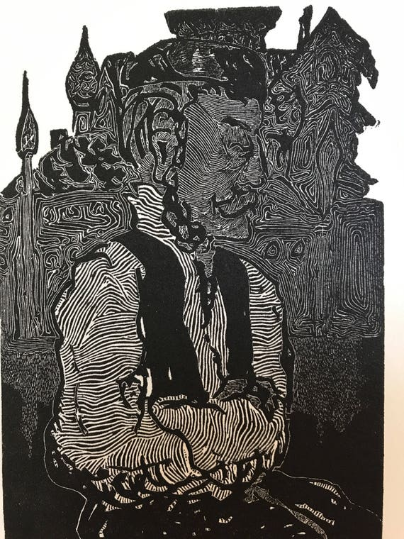 1969 Linocut Abstract Print by B. Solomon