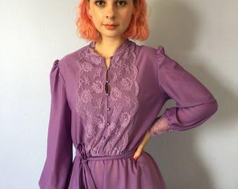 Vintage Dress Purple Secretary 1980s - Pretty - Size 8