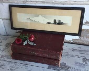 Vintage Black and White Ink Drawing Watercolor Japanese Art - 1900 -Fuji Mountain Brush Painting