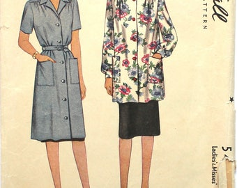 1943 Smock Dress with Pockets Bust 34-36 McCall 5442 Vintage Sewing Pattern Size Medium 16 - 18
