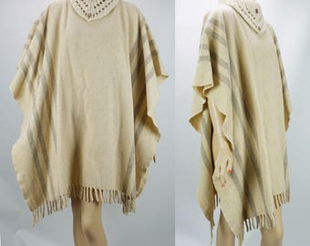 1970s Vintage Wool Plaid Fringed Blanket Poncho Cape with Knit Cowl Neck