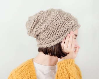 Extra Thick Slouchy Beanie, Taupe,  READY TO SHIP