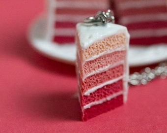 Miniature Cake Necklace, Pink Birthday Layered Cake - Minifood Jewelry