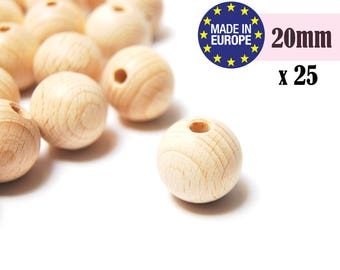 20mm Large Wooden Beads. teething beads. unfinished wooden beads. natural wooden beads. round wood beads. teething necklace beads #120043
