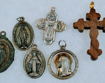 Six Catholic Religious Medals - 5 Metal and One Wood