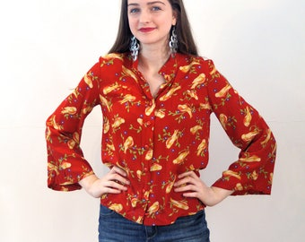 Love Finch, 70s Bird Blouse S, Gold Finch Shirt, Yellow Red Bird Print Blouse, Rayon Novelty Print Blouse, Bohemian Blouse, Bird Print Top