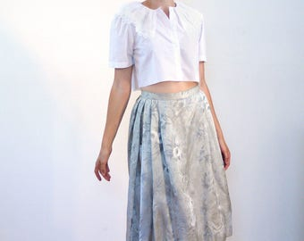 Adelheid, 60s Silver Damask Skirt S, Silver Jacquard Skirt, Silver Gray Brocade Skirt, Vintage A-Line Skirt, Knee Length Pleated Skirt