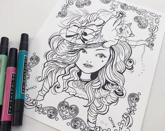 Cat Hat Girl Download Coloring Page Pocket Full of Posiez