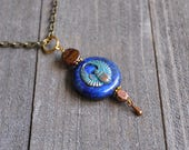 Egyptian Scarab Necklace With Wings Lapis Lazuli Gemstone Rebirth Amulet In Bronze By Rayvenwoodmanor Jewelry