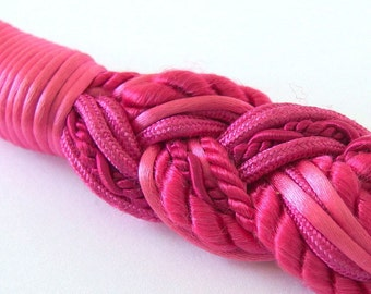 Vintage 1980's Braided Hot Pink Chunky Stretch Obi Belt, Up to Size 12, Needs Buckle