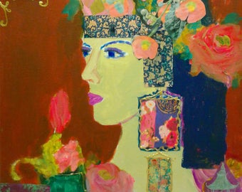 Woman, lady, goddess, roses, pink, purple, aqua, bohemian