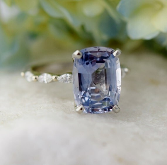 Cushion Engagement Ring Light Blue Sapphire Engagement Ring Godivah ring One of a kind ring Sapphire cushion Engagement ring  Eidelprecious