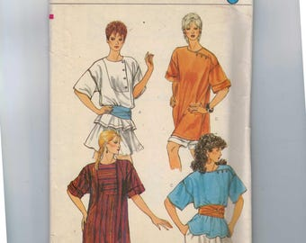 1980s Vintage Sewing Pattern Vogue 8352 Misses Asymmetrical Loose Tunic Top Size Medium 12 14 UNCUT 1980s 80s