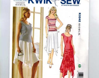 Misses Sewing Pattern Kwik Sew 3242 K3242 Pullover Stretch Knit Top and Asymmetrical Hem Pull On Skirt Size XS S M L XL UNCUT