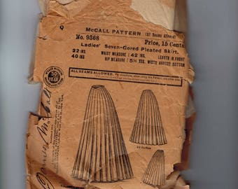 Antique Victorian Skirt Pattern AS IS INCOMPLETE McCall 9368 1890s 22 Inch Waist