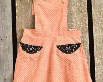 Handmade apron dress, Jumper, spring calico jumper, pinafore jumper, calico spring jumper, apron, apron dress, short floral dress