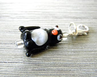 Penguin Charm with Lobster Clasp Lampwork Glass