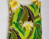 Vintage tiki maxi dress floral Hawaiian dress green brown and yellow floral