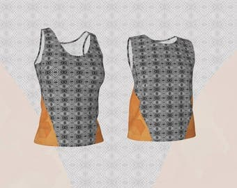 Loose or Fitted Tank Top in Modern Abstract Diamond Mosaic Tile and Orange Geometric Panel Design