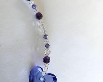 Purple Heart, Swarovski Crystals, Window Crystal, Tree Ornament, Suncatcher For Car, Valentine's Day, Valentine Gift, Crystal Prisms, 8869