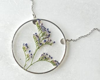 Silver Caspia Necklace Pressed Flower Jewelry Botanical Jewelry Bridal Jewelry