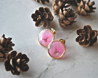Pressed Flower Stud Earrings Pressed Flower Jewelry Pink Verbena Earrings Botanical Jewelry Bridal Jewelry Mothers Day Gift