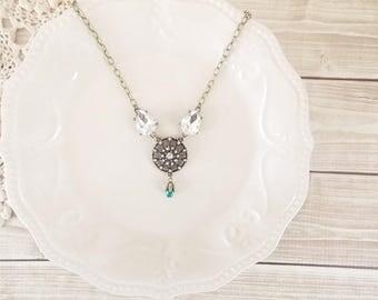Shabby Hollywood Glam Ornate Rhinestone Pendant Statement Necklace
