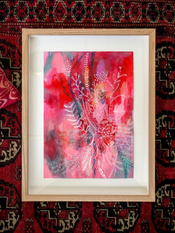 Original framed acrylic and ink painting on paper Pink And Red Botanical Patterns artwork by Paula Mills