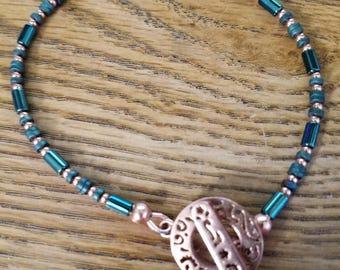 B2603 Titanium Coated Hematite and Copper Bracelet,