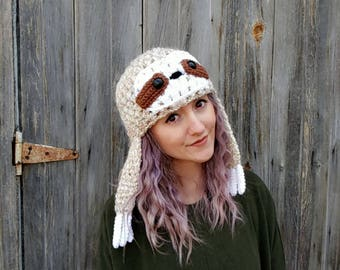sloth hat, sloth beanie, hat with earflaps, animal hat, winter hat, beanie with earflaps, funny animal hat, gift for sloth lovers, vegan