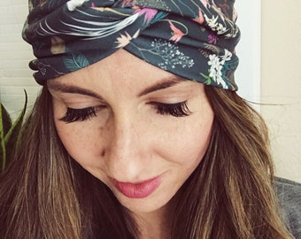 Boho Floral Head Wrap, Peacock Print, Feather Head Wrap, Women's Head Wrap, Knotted Headband, Stretch Hair Wrap, Hippie Headband, Boho Wrap