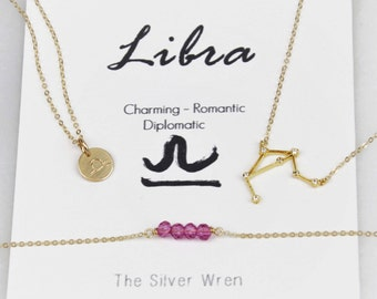 Zodiac Gifts, Libra Zodiac, Libra Necklace, Zodiac Jewelry, October Birthstone Necklace, October Birthday Gift, Celestial Jewelry
