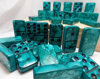 Dominoes 'Deep Blue Sea' Hand Painted 28 Piece Professional Size Double Six Domino Set in Lidded Wood Storage Box alcohol inks, instructions