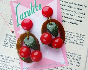 New Oval Cherry hoops! Bakelite Fakelite inspired drop hoop earrings in brown, green or turquoise - handmade 1940s 50's style by Luxulite