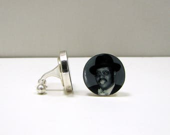 Sterling Silver Photo Cuff Links with a Barbell Back - A great gift for your Groom
