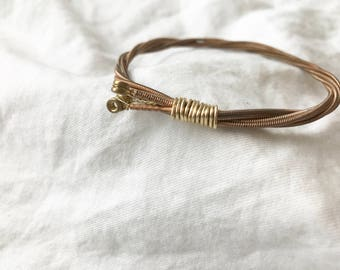 guitar string bangle, bronze bangle, stacking bangle, gift for a musician, one of a kind, unique gift, rising dawn boutique